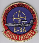 NATO Air Force Patch NATO AWACS E-3A 8000 Hours Patch Gold Tinse
