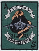 US Marine Corps Aviation Attack VMA 231 Squadron Patch Det B