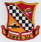 US Marine Corps Aviation Fighter VMFA 312 Squadron Patch F4 1966