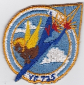 US Navy Aviation Patch Fighter VF 725 Squadron FJ 4B Fury 1960