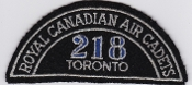 RCAFAC Patch Title Royal Canadian Air Cadets 218 Sqn Toronto