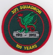 RAF Patch 3 Fighter Squadron Royal Air Force 100 Years 1912 2012