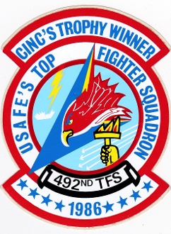 USAF Sticker Patch Ftr USAFE 492 TFS Tac Ftr Squadron F 111 86