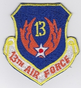 USAF Patch Cmd PACAF 13 Air Force Shield Local Made Philippines