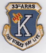 USAF Patch Rescue 33 ARRS Aerospace Recovery Sqn Combat King c