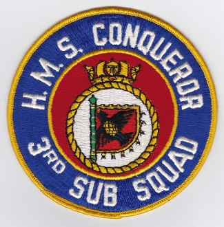 Royal Navy Patch Submarine HMS Conqueror 3 Sub Squadron Faslane
