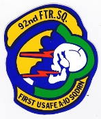USAF Sticker Patch Ftr USAFE 92 TFS Tactical Fighter Squadron