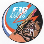 RNLAF Sticker Patch Sqn Netherlands 312 Squadron Bonzo F 16